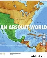 An advertisement for Absolut Vodka showing a map of the US and Mexico before 1848.