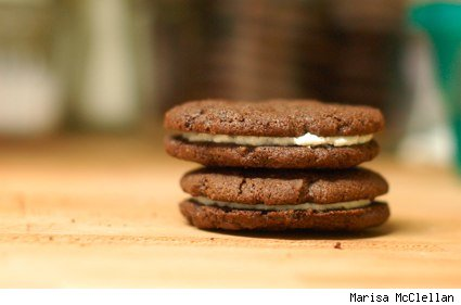 two homemade oreo cookies
