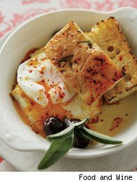 Poached Eggs with Baked Feta and Black Olives