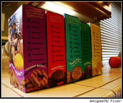 Several boxes of girl scout cookies, different flavors.
