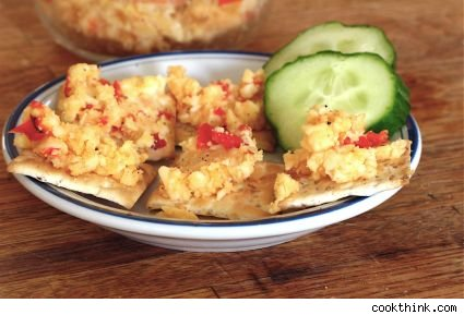 image of pimento cheese on crackers from cookthink