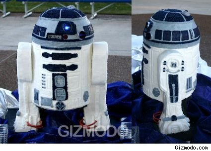 Two views of a cake shaped like R2D2 from Star Wars.