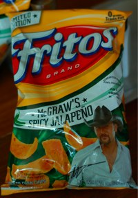 a bag of Tim McGraw's Spicy Jalapeno Fritos