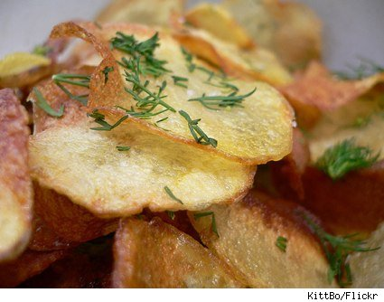 homemade potato chips dusted with fresh dill