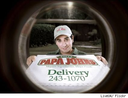 How the new Papa John's ad looks through the peephole on your front door.