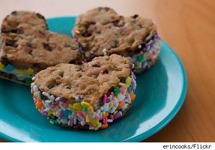 homemade ice cream sandwiches rimmed with sprinkles