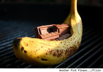 chocolate stuffed banana on a grill