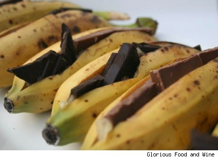 chocolate stuffed bananas