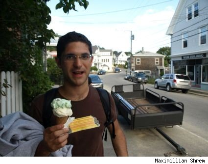 Maximillian Shrem eating ice cream from Island Cow Ice Cream Co.
