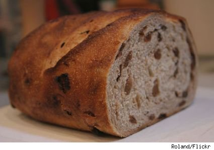 Half of a loaf of raisin bread.