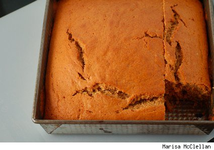 sour milk cake in pan