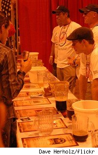 A typical booth at the Great American Beer Festival