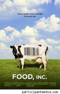 Movie poster for Food Inc, featuring a cow with a UPC code on its side.