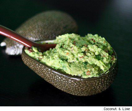 guacamole in an avocado shaped bowl