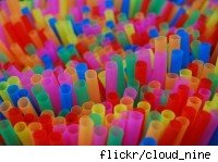 Multicolored drinking straw closeup