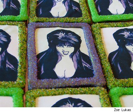 elvira, mistress of the dark, on a sugar cookie