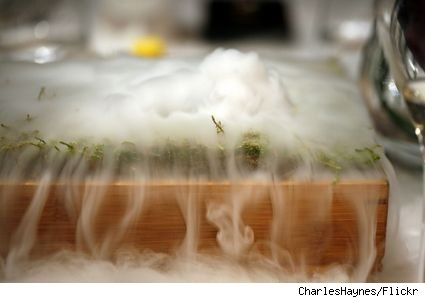 Photo of a dish from the Fat Duck restaurant that has vapor emmerging from it due to liquid nitrogen.