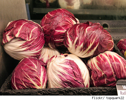 mound of radicchio at a market