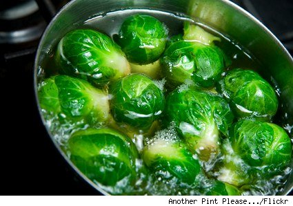pot of boiling brussels sprouts