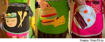 composite of three food-themed aprons