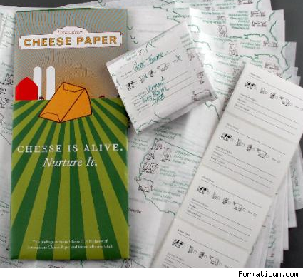 Cheese Paper solves the problem of plastic wrap and wax paper by using a two-ply material composed of a sheet of craft paper, with a light wax coating on one side glued to an ultra thin sheet of polyethylene. Both materials are naturally porous and allow oxygen exchange.