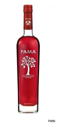 bottle of pama liqueur