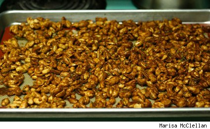 baking sheet of spicy sweet roasted nuts