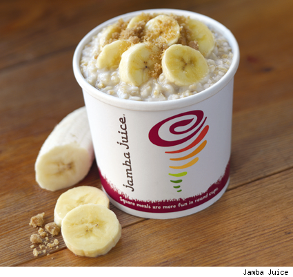 Jamba Juice unveils their newest product to hit their stores - 100% Steel Cut Organic Oatmeal with real fruit.