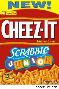 box of Cheez-It Scrabble Junior snack crakers