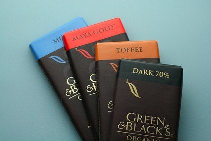 variety of green &amp; black's chocolate bars