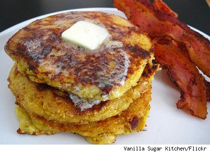 corn, cheddar and bacon pancakes