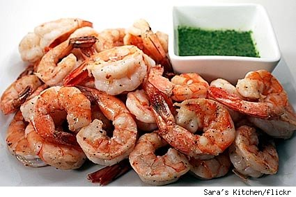 sauteed wild blue shrimp with salsa verde
