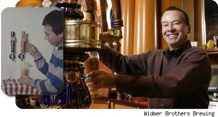 Kurt Widmer pouring a pint then and now.