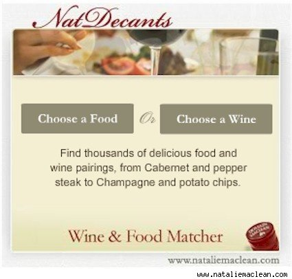 NatDecants wine and food pairing widget