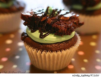cupcake topped with brownie