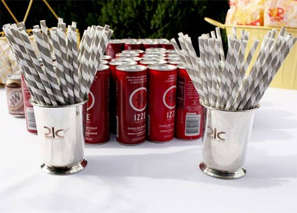 Red Izze Sodas with Gray-Striped Straws at Josie and Adam's Wedding