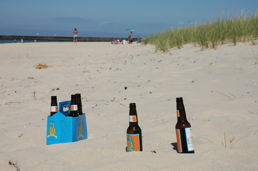 bell's beer on the beach in michigan