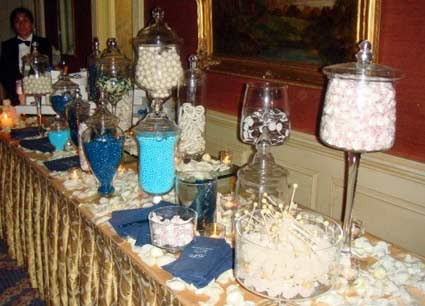 blue and white themed candy bar at a wedding