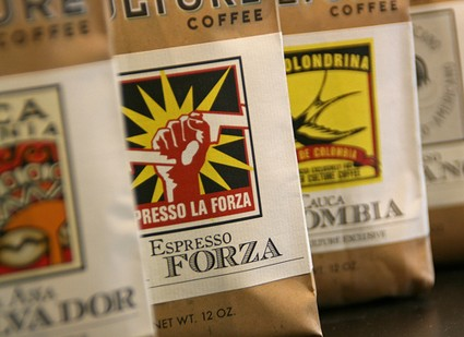 Wine labels on coffee bags.