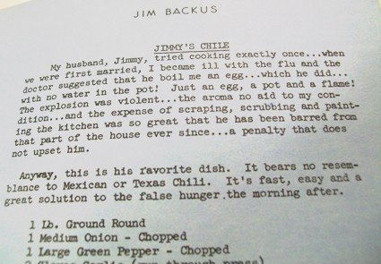 jim backus's chili