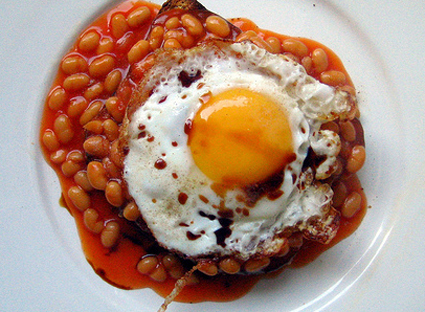 Fried egg and beans on toast