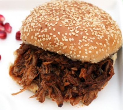 pomegranate pulled pork sandwich