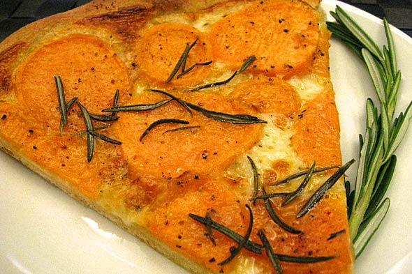 sweet potato and rosemary pizza