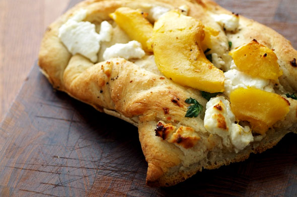 rustic pizza with squash and goat cheese