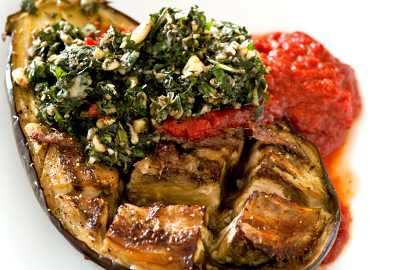 baked eggplant with tomato and pesto