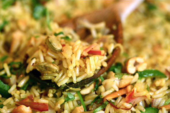fried indian rice with cardamom