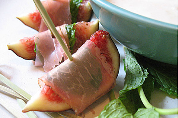 prosciutto and mint wrapped figs