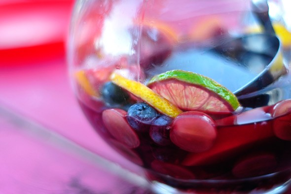 sangria wine with fruit