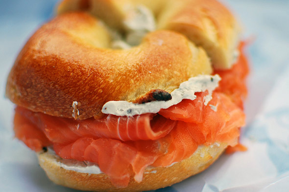 sliced bagel with lox in new york