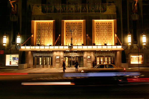 The Waldorf Astoria Hotel at night